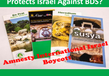 Image of brochures showing tourist sites Amnesty is boycotting