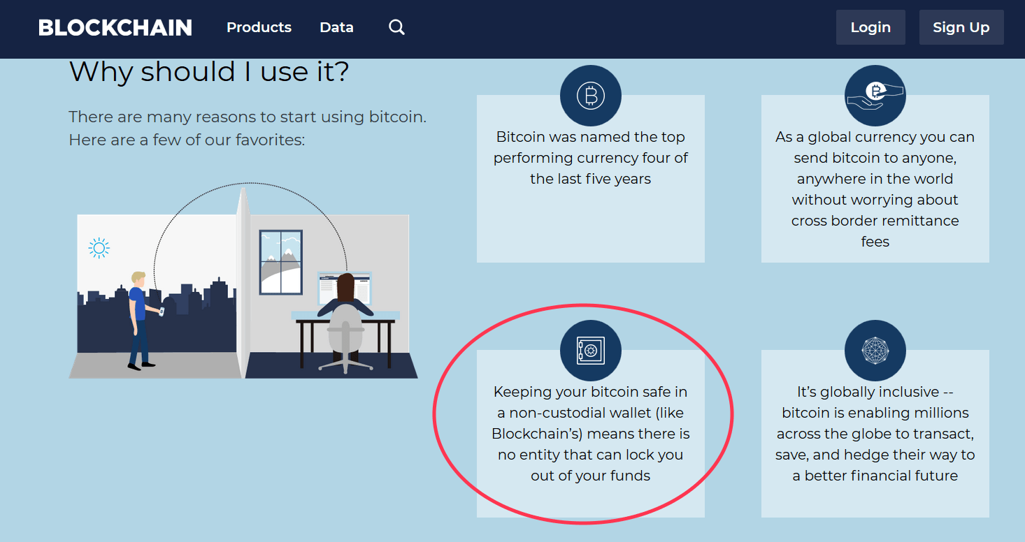 Screenshot from Blockchain showing how safe it is to keep bitcoin with them