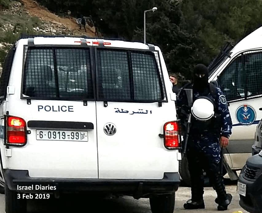 Ramallah demonstration - riot police