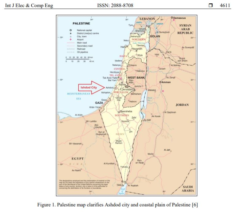 map of Israel showing Ashdod as if it is part of Palestine