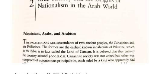 Screenshot of Mark Tessler's statement regarding Palestinians being descendants of Canaanites and Philistines