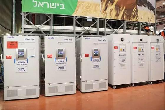 The vaccine freezers at the Teva-Sala logistics center in Shoham // Photo: Elad Malka