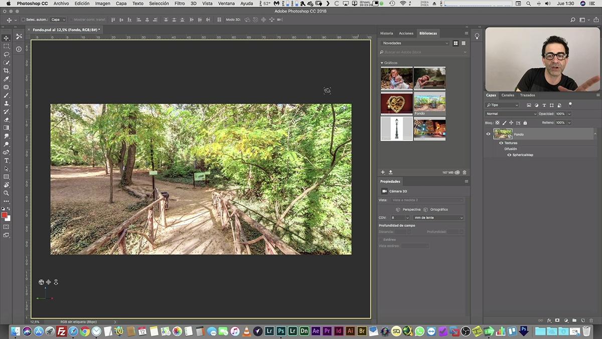 Editar panoramas esféricos en Photoshop