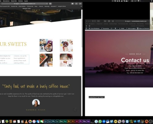 Texto, separadores, galerías, recomendaciones, carrusel y listado de iconos