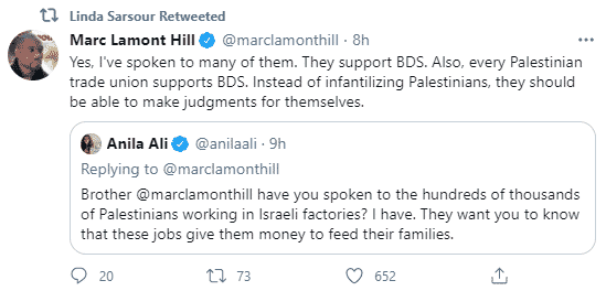 Marc Lamont Hill tweet to Anila Ali