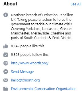 extinction rebellion about section on Facebook