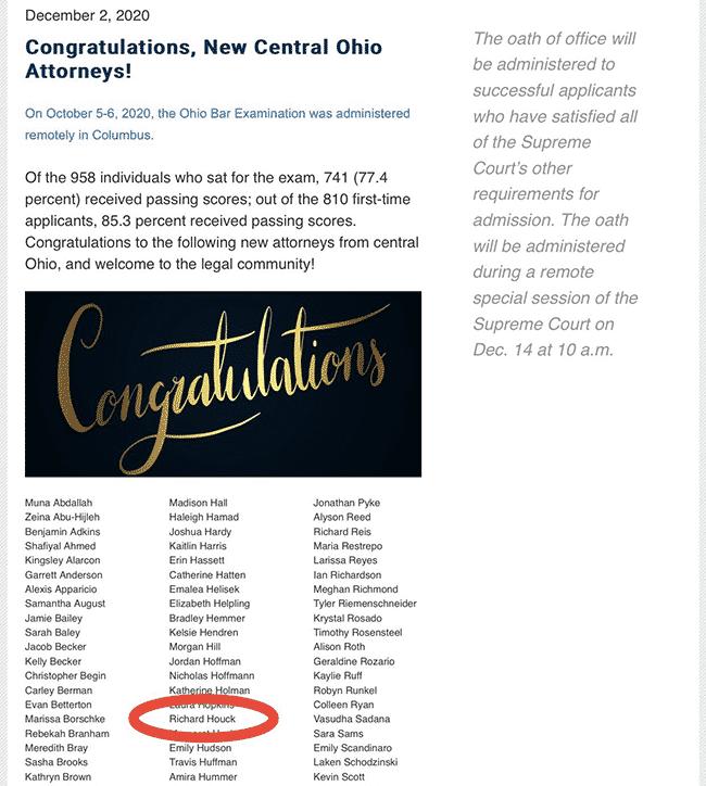 Ohio attorney list showing Richard Houck