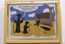 Israeli cartoon contest sponsored by Jerusalem Press Club and Holon cartoon on display Angel of Death