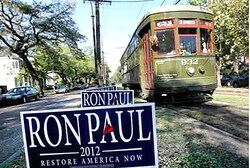 A sign for Republican presidential candidate Ron Paul