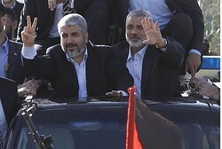 Hamas chief Khaled Mashaal and Hamas PM Ismail Haniyeh