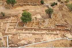 An aerial view of the Khirbet Qeiyafa dig