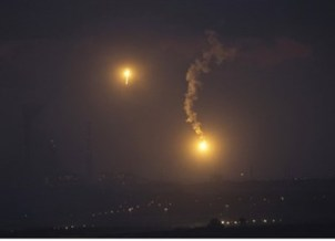 Lighting flares over Gaza