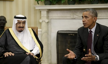 President Barack Obama meets with Saudi King Salman in the Oval Office