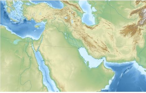 Топографическая карта Ближнего Востока. Фото: Wikipedia / Sеmhur