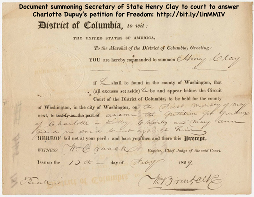 Bill of Sale for Charlotte Dupuy from James Condon to Henry Clay