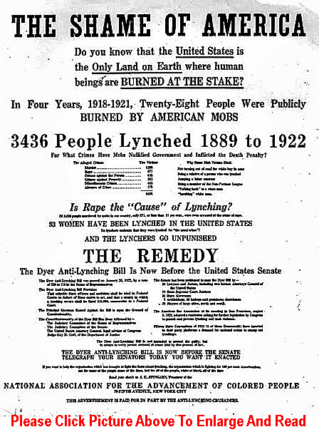 The Shame of America NAACP ad in support of Dyer Anti-Lynching Bill, November 1922.