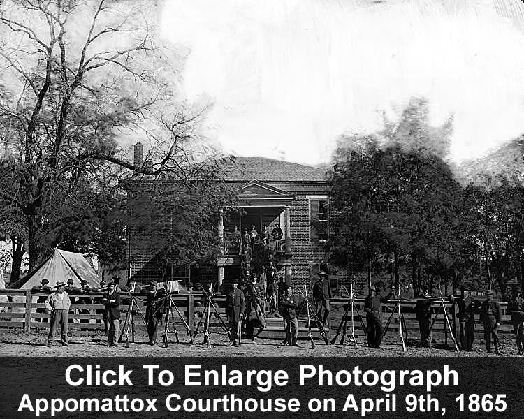 Appomattox Courthouse surrounded by Union soldiers on April 9th, 1865