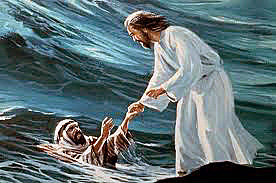 Jesus Saving Peter In Matthew 14:25-32.