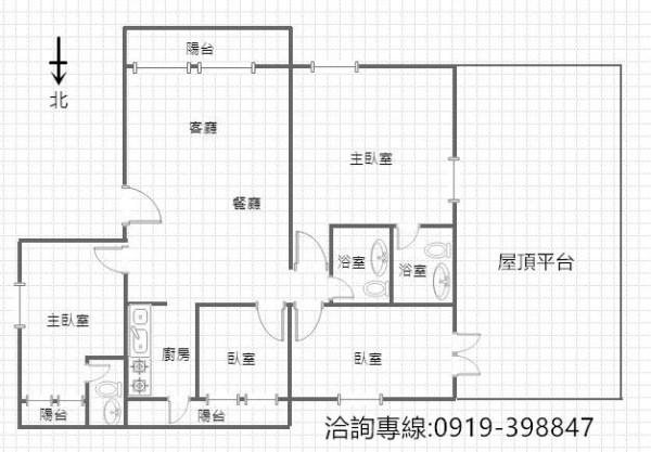 北屯-軍功商圈4房雙主臥+7車位 全新裝潢 超級大露臺