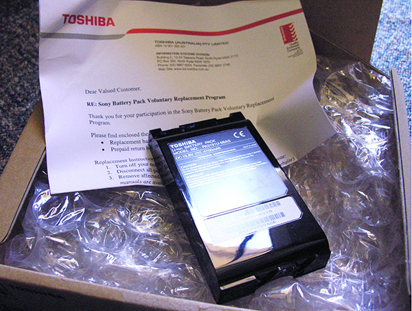 Toshiba replacement battery
