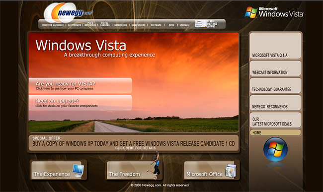 Newegg's Windows Vista website