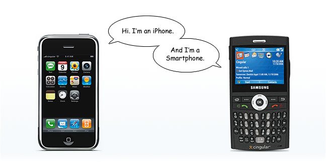 """Hi I'm an iPhone. And I'm a Smartphone."" comic"