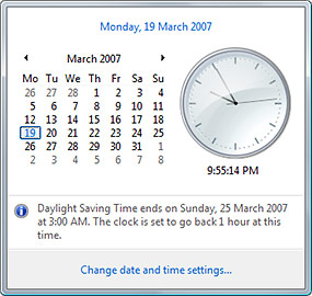 Daylight saving reminder in Windows Vista