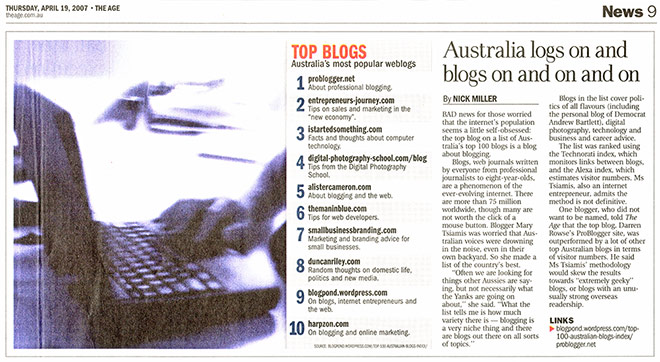 Australia's most popular weblogs