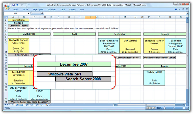 French Excel spreadsheet with Windows Vista SP1 expected release date