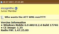 Windows Mobile 6 Treo 750 ROM leak