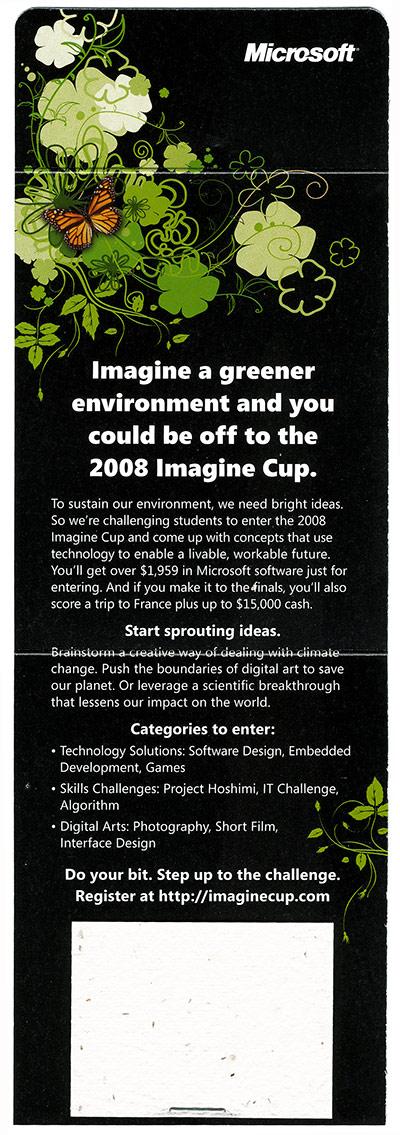 Microsoft Imagine Cup Seed of Change card