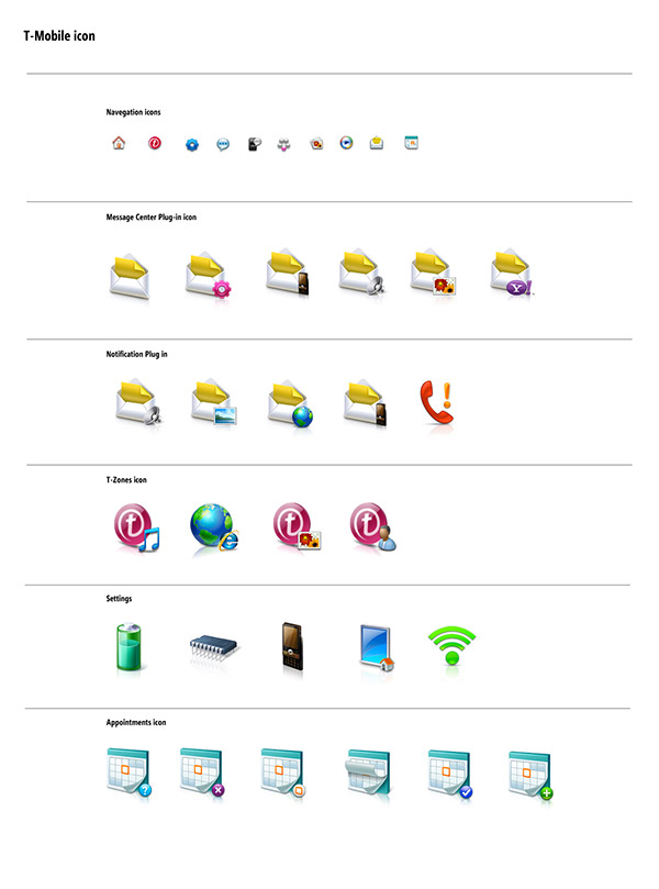 T-Mobile Shadow interface icons