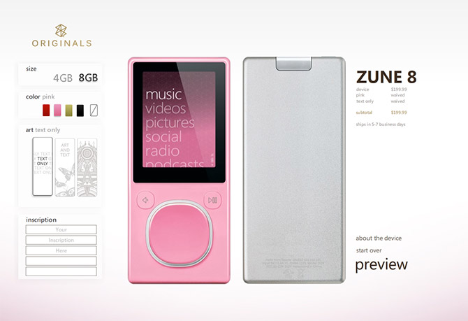 Zune Originals customization
