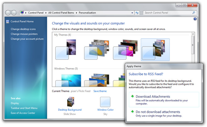 RSS-powered Windows 7 desktop slideshows