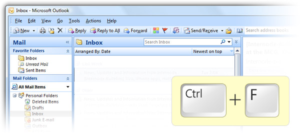 Outlook 2010 CTRL+F