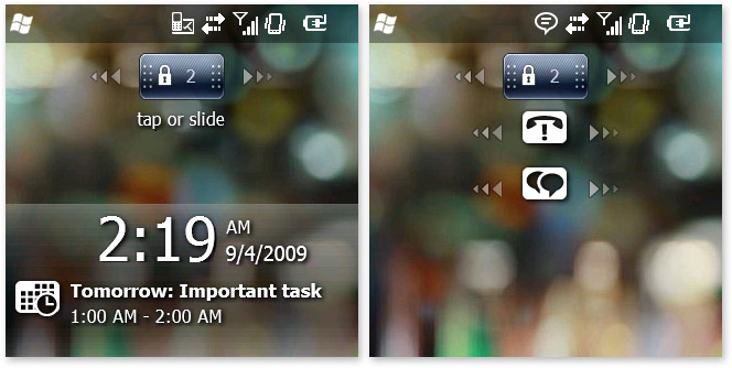 Windows Mobile 6.5 lock screen
