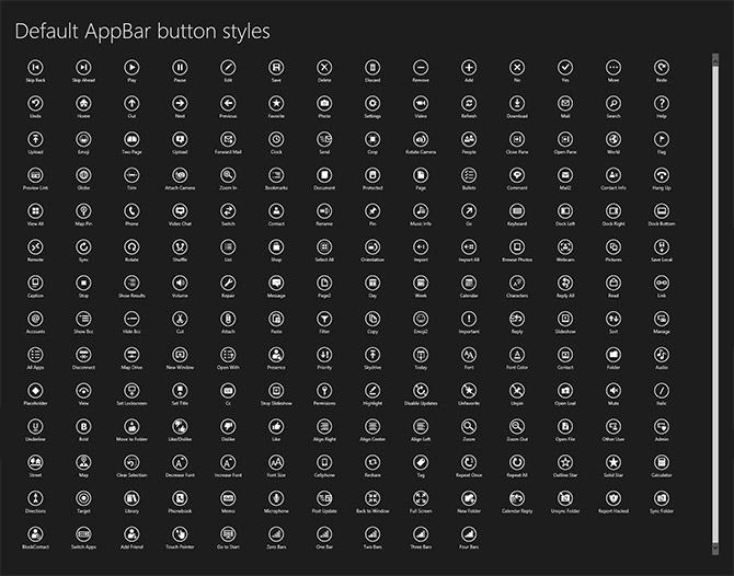 Windows 8 standard AppBar button styles