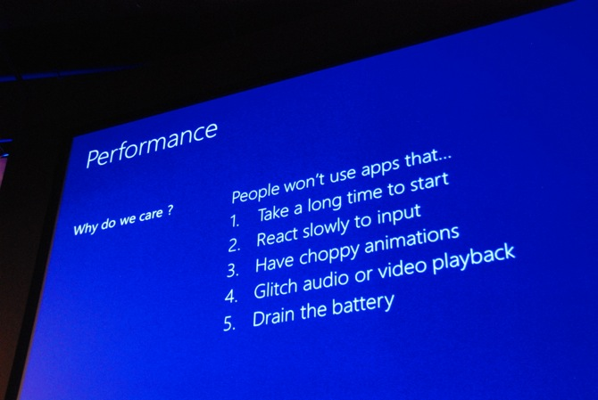 BUILD 2012: Pay attention to Windows 8 app performance on