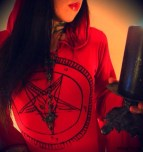 Red & Black Pentagram Hooded Drape Tunic Mini Dress 03 istasy10net