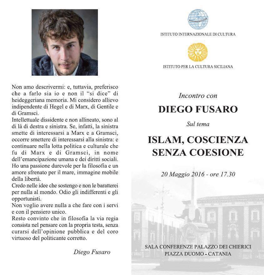 """Islam, coscienza senza coesione"". Incontro con Diego Fusaro"