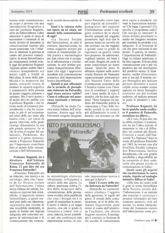 Francesco Fattorello: studioso dell'informazione che ha fatto scuola