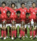 South Korea's national soccer team pose before friendly match against Australia in Seoul
