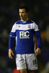 Birmingham City's Keith Fahey sporting a moustache in support of Movember