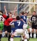 Carlisle United's Jimmy Glass celebrates his winning goal keeping Carlisle United in the league