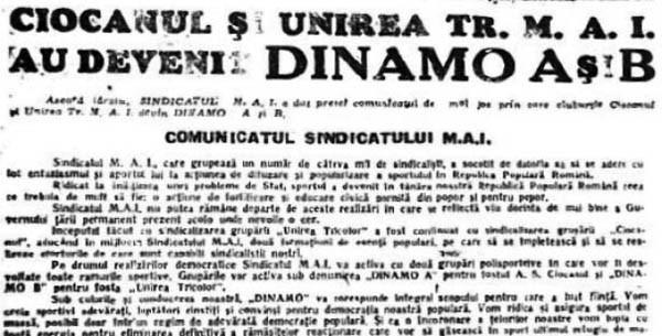Istoria fotbalului românesc (VII): Cum a apărut Dinamo Bucuresti