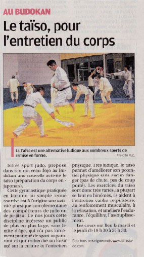 le journal la provence parle du istres judo istres judo. Black Bedroom Furniture Sets. Home Design Ideas