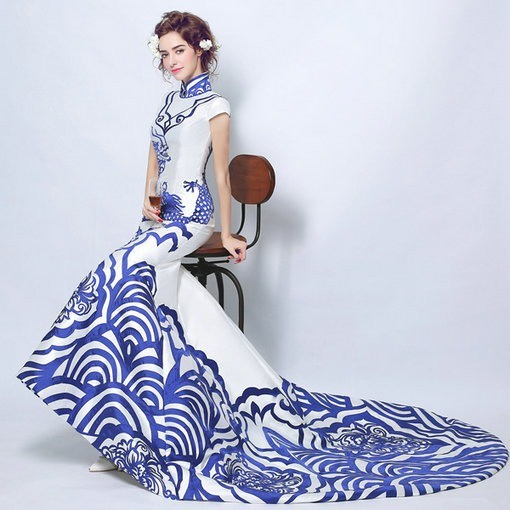 Blue And White Cheongsam Evening Dress Cheap Prom Dressevening