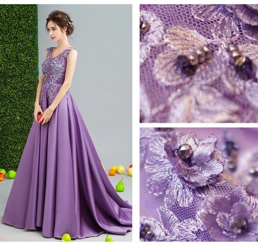 Purple Long Evening Dress Formal Evening Gown With Train Cheap