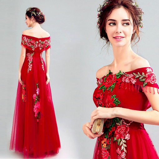 Red Prom Dress Off Shoulder Prom Evening Gown - Cheap Prom Dress ...