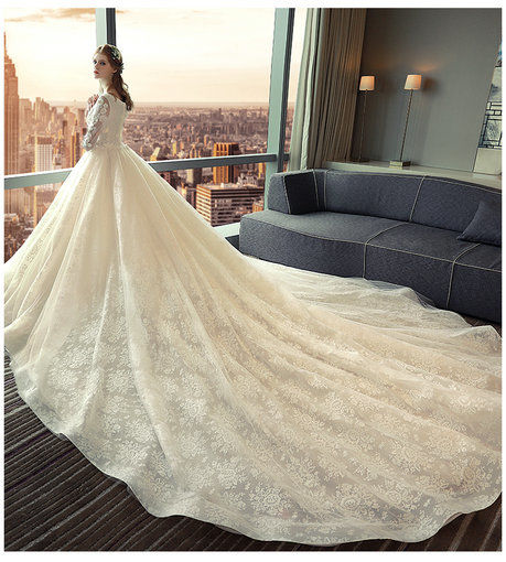 Lace bridal gowns with long train long sleeves wedding dress cheap long sleeve wedding dress 379 004 junglespirit Gallery